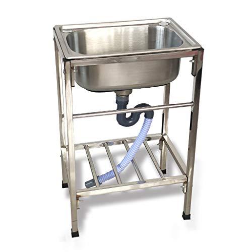 Freistehendes Spülbecken Mit Wasserhahn Und Beinen - 1-fach Gewerbliches Küchenvorbereitungs- Und Universalwaschbecken, Handwaschbecken Aus Edelstahl Für Das Restauranthaus