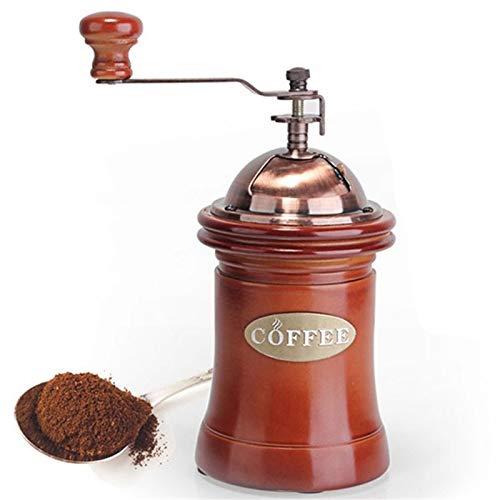 DJG Kaffeemühle, Holzhand Kaffee-Maschine, große Kapazität, Gusseisen Handkurbel, tragbare verstellbare für Haus, Büro und Reisen