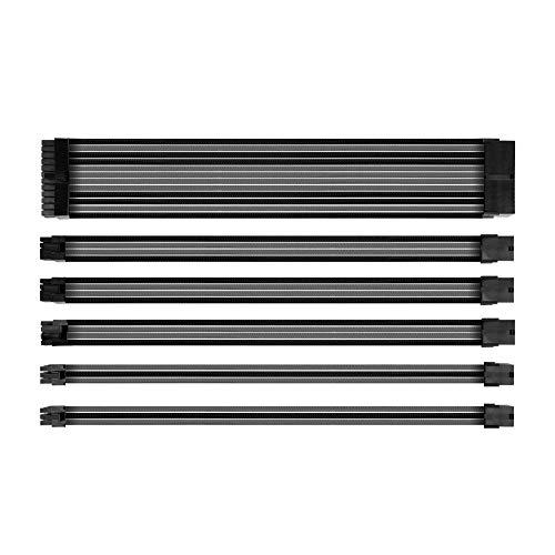 Antec Power Supply Cable Extension Kit, ATX EPS 8-pin PCI-E 6-pin PCI-E, w/Combs, Black Gray