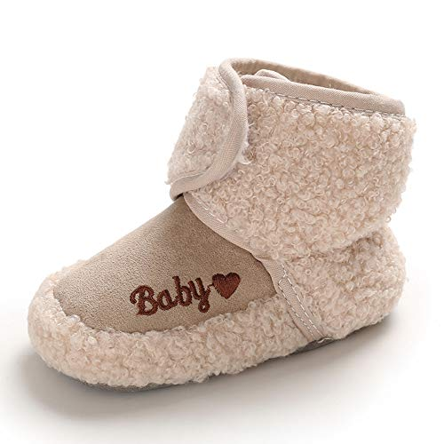Methee Infant Baby Boys Girls Snow Boots Fur Lined Warm Winter Shoes, Pink 6-12 Months Infant