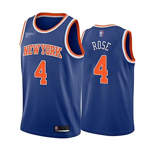Jerseys De Baloncesto De Los Hombres, NBA New York Knicks # 4 Derrick Rose - Uniformes De Chaleco Transpirable Suelto Uniformes Classic Confort Camiseta Sin Mangas Tops,Azul,M(170~175CM)