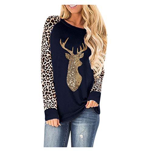 LOPILY Weihnachtspullover Pailletten Glitzer Hoodies Damen Große Größen Reindeer Druck Elk Sweatshirts Locker für Weihnachtsfeier Leoparden Muster Langarmshirts Oversize Weihnachtspullis