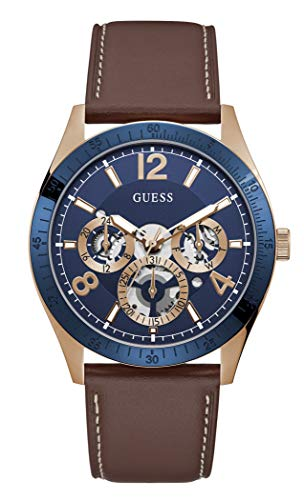 GUESS Men's Stainless Steel Quartz Watch with Leather Strap, Brown, 22 (Model: GW0216G1)