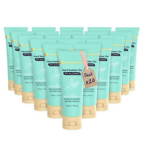 Natural Pharma Laboratories Gel Idroalcolico Mani Set 20x50 ml. 75% Alcool. Gel Igienizzante con Aloe Vera e Vitamina E. Massima Protezione.