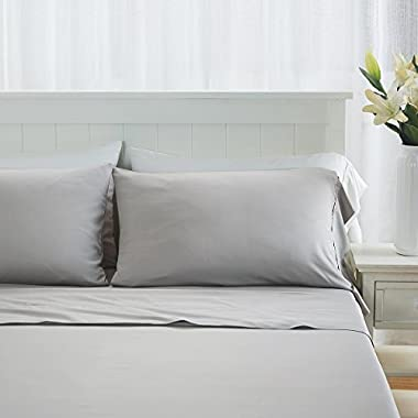 DTY Bedding Premium Bamboo Sheets, Luxuriously Soft and Comfortable 4-Piece Sheet Set Fits Mattresses up to 18  Deep, 100% Bamboo Viscose - Queen, Light Gray - Big Sale!!