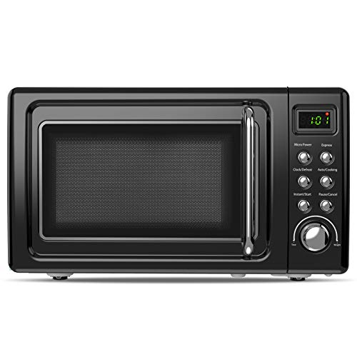 ARLIME Retro Countertop Microwave Oven, 0.7Cu.ft, 700-Watt with 5 Micro Power Defrost & Auto Cooking Function, LED Display, Glass Turntable & Viewing Window, Stainless Steel (Black)