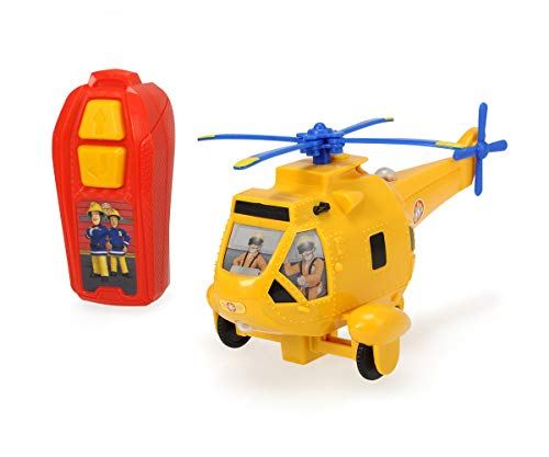 Dickie Toys Feuerwehrmann Sam IRC Wallaby 2, Spielzeughelikopter mit Infrarotfernsteuerung, drehende Propeller, Toplicht