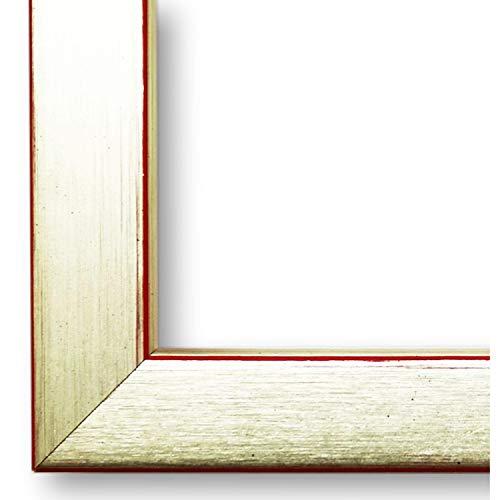 Online Galerie Bingold Bilderrahmen Erlangen Silber, Kante Rot 2,0 I 40 x 40 cm mit Plexiglas (WRP) I handgefertigte Holz Urkundenrahmen I Holzrahmen mit Glas I inkl. Montagematerial