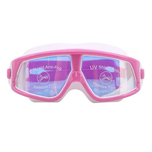 JIFNCR - Gafas de natación para niños, sin fugas, lentes antiniebla, protección UV, con funda transparente para niños, niñas, jóvenes, color rosa y blanco