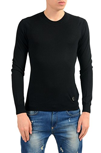Versace Collection Men's Wool Cashmere Black Crewneck Sweater Size US S IT 48