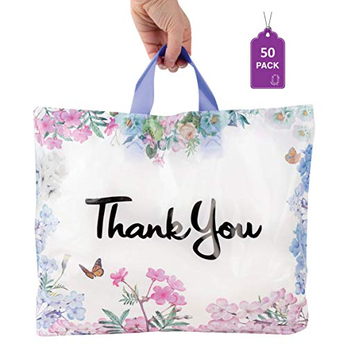 Floral Thank You Plastic Bags 50 Pack 12' x 15' with Soft Loop Handle Thank You Shopping Bags