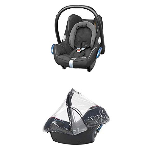 Maxi-Cosi Cabriofix, Babyschale Gruppe 0+ (0-13 kg), Black Diamond (schwarz), ohne Isofix-Station + Regenschutz für Autositze Pebble, Cabriofix und Citi SPS