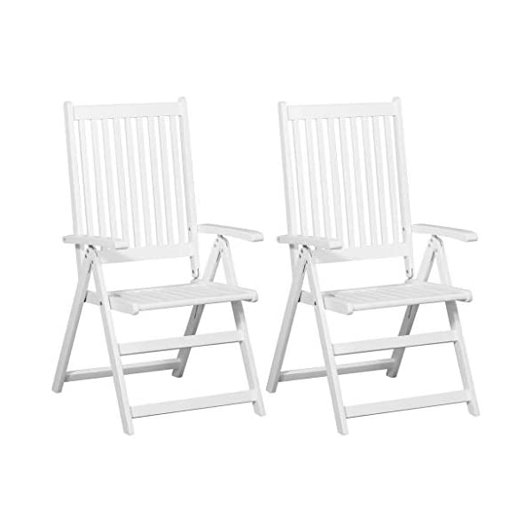 mewmewcat 2er Set Klappstühle Holz Klappbare Essstühle Gartenstühle Klappsessel Gartenmöbel Weiß