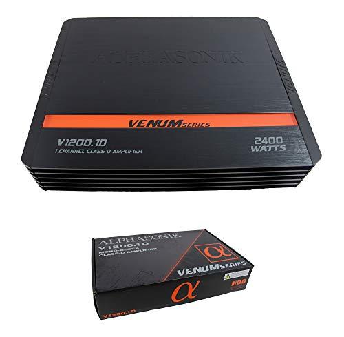 Alphasonik V1200.1D Venum Series 2400 vatios Max Monoblock Car Amp con chip de planta eléctrica, circuito de protección de 4 vías,...