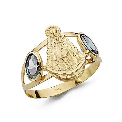 Sortija oro 18k Virgen del Rocío piedras color azul