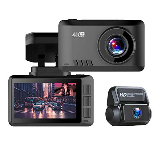 4k Dual Dash Cam Front and Rear | Wi-Fi | GPS | Front 3840x2160P | Rear 1080P | Night Vision | Parking Monitor | Motion Detector |Sony 335 CCD | G-Sensor | 170º Wide Angle Lens | Loop-Cycle Recording