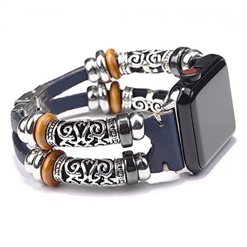 QINJIE Correa Compatible con Apple Watch 1/2/3/4/5 Pulseras de Cuero Joyas Puño de Metal Multicapa Correa Retro con Pulsera de Cuerda Elegante Pulsera,E,38MM