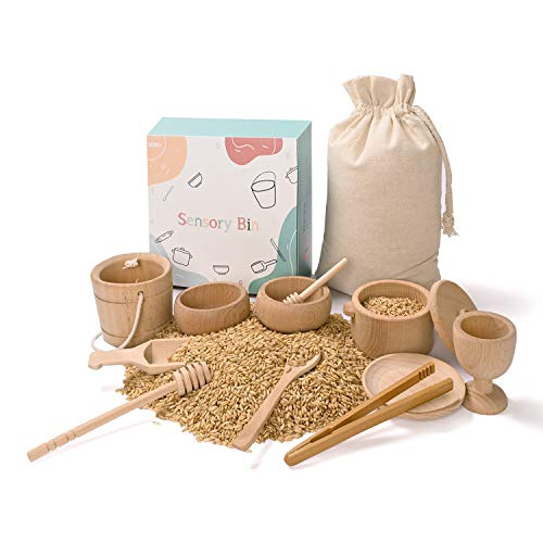 MONT PLEASANT Montessori Toys Sensory Bin Toys for 1 Year Old Toddlers, 11pcs Wooden Waldorf Toys Wooden Scoops and Tongs for Transfer Work and Fine Motor Skills Development