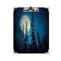 クリップボード クリップファイル ダークブルー 学校・ご家庭・オフィスなど場所 (2パック)背の高い木と不気味な神秘的な森の低角度のビュー大きな満月青黒白