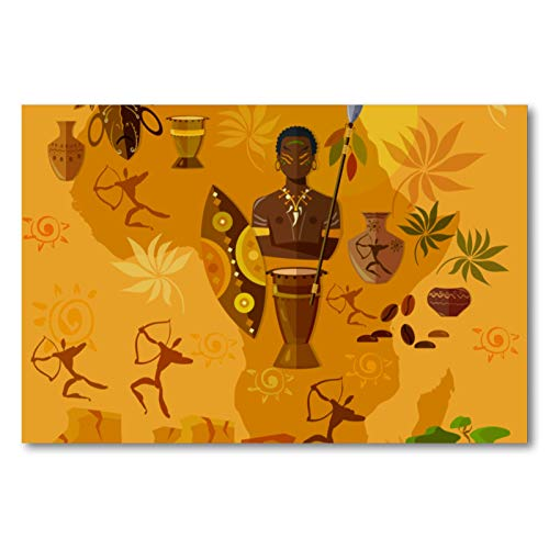 Cuadro de pintura al óleo de las tribus africanas y mapa sobre lienzo, póster con marco para cocina, dormitorio, decoración del hogar, diseño clásico moderno, 60 x 90 cm