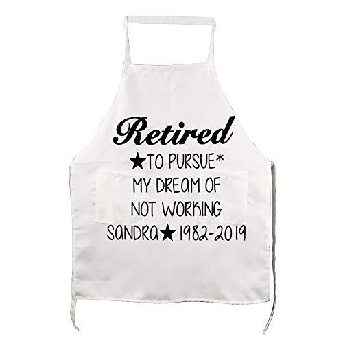 Grembiule da cucina per adulti 2 tasche per cottura giardinaggio ristorante barbecue per uomini e donne in pensione per perseguire il mio sogno di non sognare di non lavorare Sandra 1982-2019
