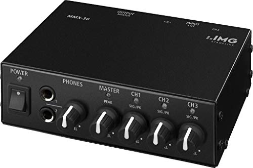 IMG Stageline MMX-30 Audio-Mixer in Schwarz, kompakter 3-Kanal Stereo Line-Mischer mit gemeinsam regelbaren Kopfhörerausgängen