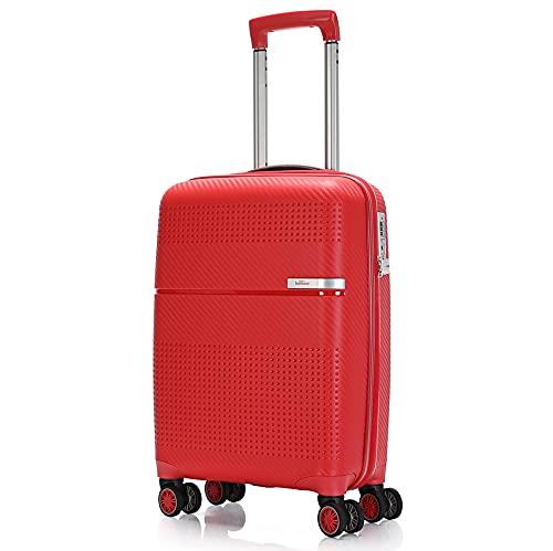 BONTOUR Hartschalen-Koffer Trolley Rollkoffer Reisekoffer 55x38x20 cm mit TSA-Schloss, Handgepäck 4 Rollen Aus starkem und flexiblem Material (Rot)