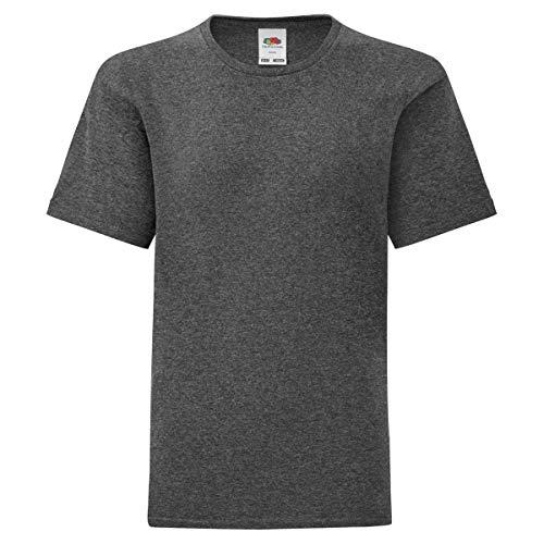 Fruit of the Loom Kids Iconic T-Shirt Größe 104-164, Farbe:dunkelgrau meliert, Größe:152