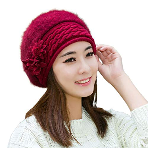 iSWEVEN Womens Knitted Winter Beret Beanie Hat Faux Fur Woollen Cap for Girls Maroon