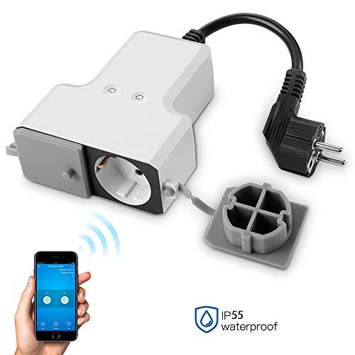 WLAN Outdoor Steckdose Wasserdicht Smart Home Intelligente Wi-Fi Außensteckdose App Fernsteuerung, Kompatibel mit Alexa IFTTT (APP eWelink)