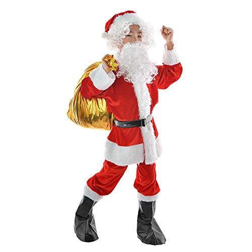 Children's Deluxe Santa Suit 9pc. Christmas Child Santa Claus Kids Halloween Costume Cosplay (Medium) Red
