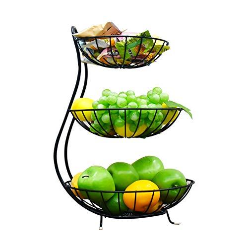 JUNGEN Obstkorb Etagere 3 Stöckig Obst Etagere 3 Etagen Obstschale aus Metall Gemüsekorb für Gemüse Obst Snacks Küche Wohnzimmer Schwarz