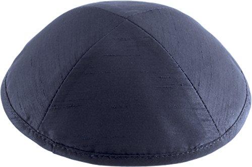 Rimmon Judaica Plain Raw Silk Kippah con 4 sezioni blu navy M