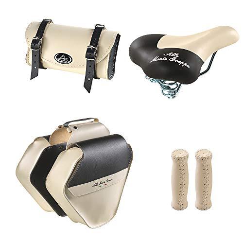 Selle Montegrappa fietszadel, dubbele tas, zadeltas en handgrepen, crème, zwart