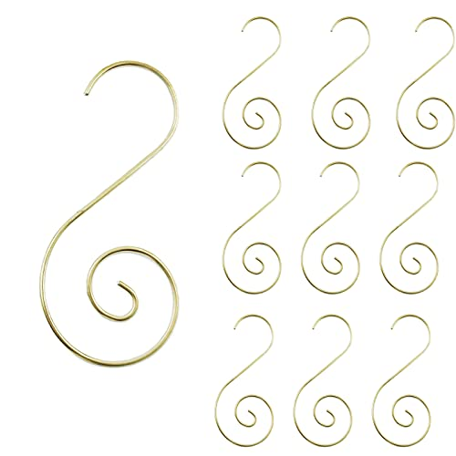 Pinkswan Ornament Hooks for Christmas Tree, Xmas Metal Wire Ornament Hangers Gold S-Hooks for Christmas Stocking Christmas Balls Party Decorations 40 Pack