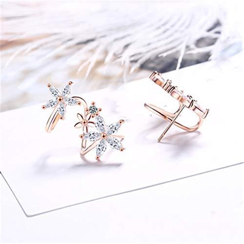 Flor curva oreja clip circón pendientes femenina coreana dulce señora temperamento pendientes de la joyería del oído