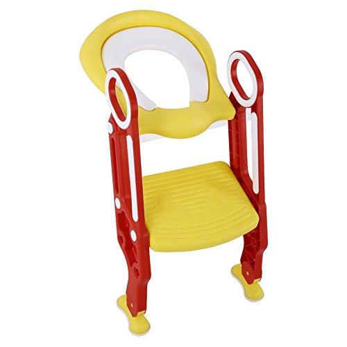 AYNEFY Kinder Toilettensitz Toilettentrainer Toilettenstuhl Verstellbarer Toilettenaufsatz mit Höhenverstellbar Treppe Faltbar Töpfchen mit Griffen(Rot + Gelb)