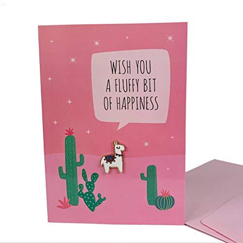 Alpaka Ansteck-Pin mit Geschenkkarte | Kleines Geschenk mit Grußkarte | Alpaka Geburtstagskarte mit Umschlag und Geschenk | Witzige Weihnachts-Karte