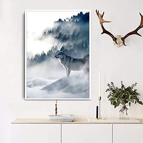 Rumlly Nordique Toile Mur Art Loup Neige Montagnes Art Toile Affiche Minimaliste Impression Nature Photo Moderne Maison Chambre décoration 50x70 cm sans Cadre