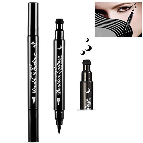 Pinkiou 2 in 1 Eyeliner Stempel Stift Doppelköpfe wasserdicht langlebige Augen Make-up Bleistift (Mondform)