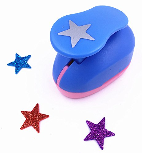 """TECH-P Creative Life Large Size 1"""" Multi-Pattern Hand Press Album Cards Paper Craft Punch,Card Scrapbooking Engraving Kid Cut DIY Handmade Hole Puncher,Mini Paper Craft Punch. (Star)"""