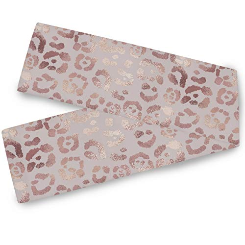 Rose Gold Floral Table Runner 13x90 In Double Sided Elegant Flowers Leopard Table Runners Cloth Washable Kitchen Dining Fabric for Wedding Graduation Party Birthday Baby Shower Dresser Decorations