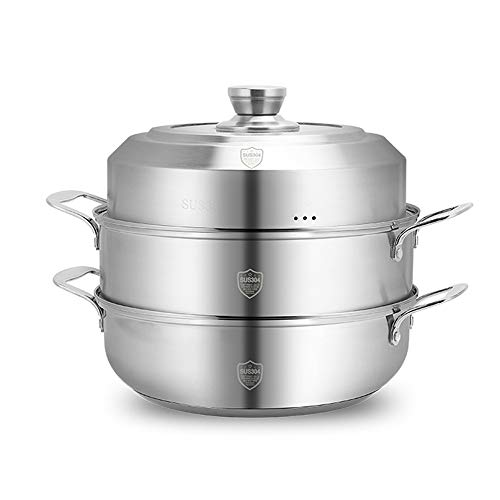 Stainless Steel Steamer, YQAD Household Single Tier 2-Tier 3-Tier/Non-MagneticComposite Bottom Food Steamer Healthy Cooking Induction Cooker Gas Stoves General Purpose Stock Pot With Lid-2-Tier-32CM