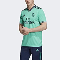 Regular fit is wider at the body, with a straight silhouette Ribbed V-neck Short sleeves 50% polyester / 50% recycled polyester mock eyelet Mesh inserts on inner sleeves; Sweat-wicking Climalite fabric Real Madrid woven crest This jersey is made with...