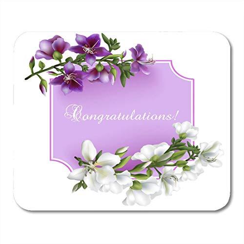 Alfombrilla de ratón verde vintage flores florecientes felicitaciones redacción y lugar alfombrilla de ratón rosa para cuadernos, alfombrillas de ratón para ordenadores de sobremesa, material de ofici