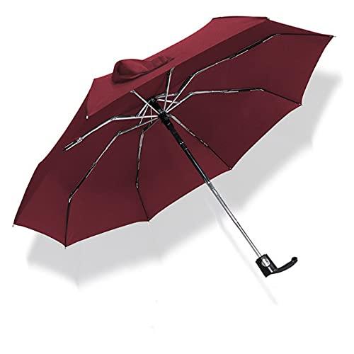 Mini Paraguas automático de Bolsillo Rain Lady Paraguas Ultraligero de Viaje para Hombres Paraguas portátil de Regalo al Aire Libre con Revestimiento Negro - Negro, 88