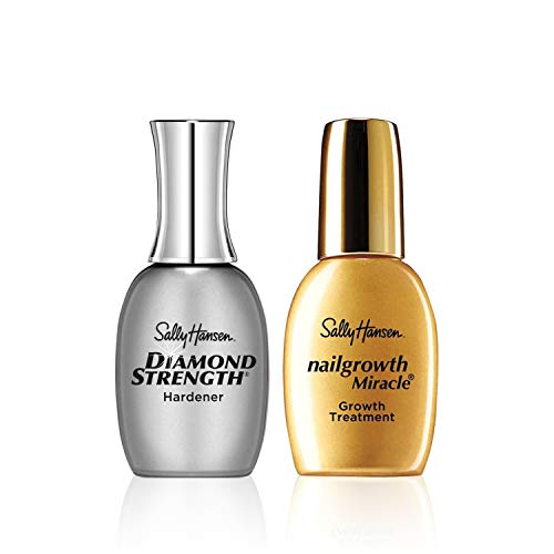 Sally Hansen Diamond Strength Instant Nail Hardener and Sally Hansen Nailgrowth Miracle Serum, Nail Kit, Pack of 2