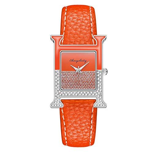 Damen Uhren mit Lederarmband Frauen Mode Analog Quarz Armbanduhr Luxus Elegant Kristall Diamanten Quadrat Dial Damenuhr (Orange)