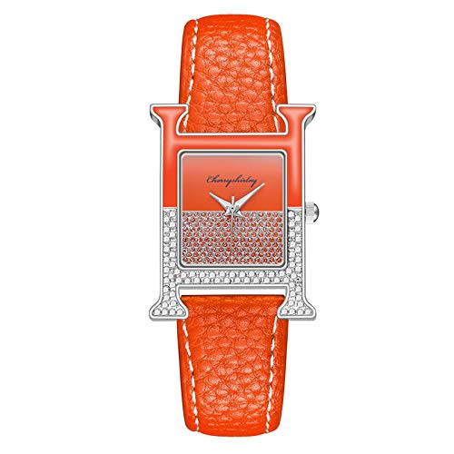 VANSVAR Watches for Ladies Fashion Casual Quartz Watchs Leather Strap Watch Analog Watch Square Dial 38mm(1PC,Orange)