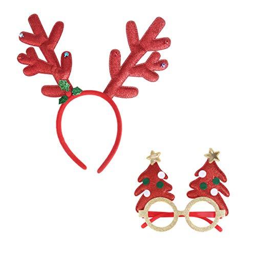 Amosfun 2 stks Kerst Antlers Hoofdband En Bril Frame Set Glitterde Haarband Xmas Boom Kostuum Bril Frame Voor Feestelijke Feestdagen Feestartikelen (Gouden Groen) 29 x 11 x 1 cm Rood